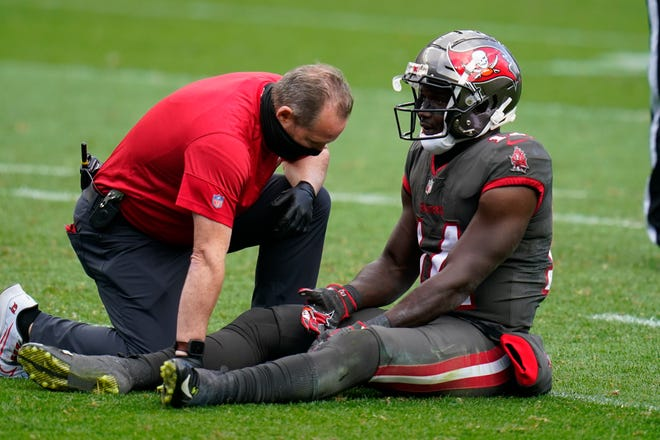 Tampa Bay wide receiver Chris Godwin injured a hamstring during the second half against the Denver Broncos on Sunday.
