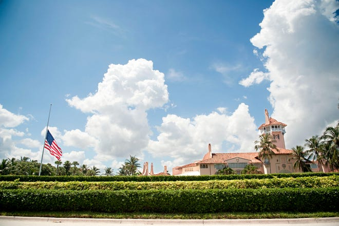 The American flag at Mar-a-Lago Club is flown at half-staff Saturday September 19, 2020. On September 18, 2020 President Donald Trump ordered flags on all U.S. federal buildings to be flown at half-staff until the late Supreme Court Justice Ruth Bader Ginsburg is interred.