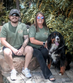 Nick Geraine and his mother, Loralyn Shore, with her dog Buster Brown, launched Pet Wants Delray Beach, a pet food and supplies company, in August.
