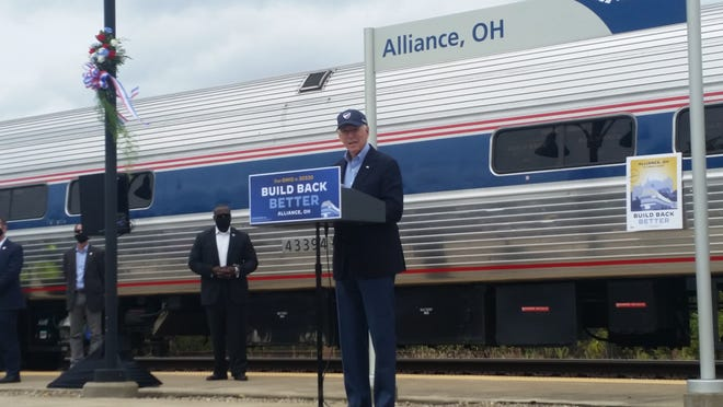 Former Vice President Joe Biden speaks Wednesday during a campaign stop at the Amtrak station in Alliance.