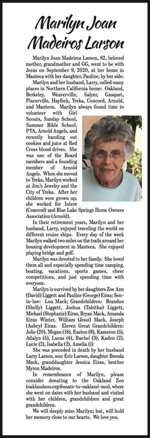 Obituary: Marilyn Joan Madeiros Larson