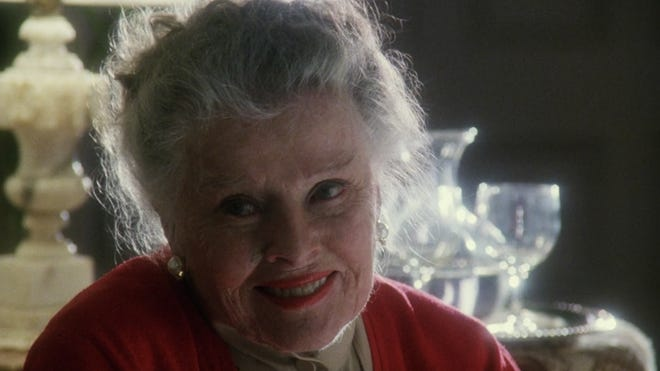 """The last shot of Katharine Hepburn in her final screen performance 1994's TV movie """"One Christmas,"""" which shot in Wilmington. [NBC PHOTO]"""