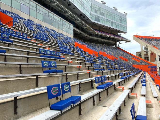 Seating for fans in Ben Hill Griffin Stadium has been spaced to comply with social distancing protocols this weekend as the Gators host their first game of the coronavirus-disrupted season in Gainesville on Saturday.