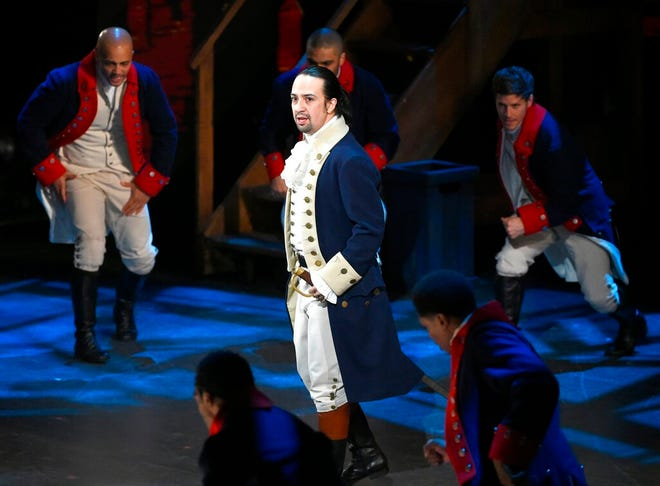 "Lin-Manuel Miranda and the cast of ""Hamilton"" perform at the Tony Awards in New York in 2016."
