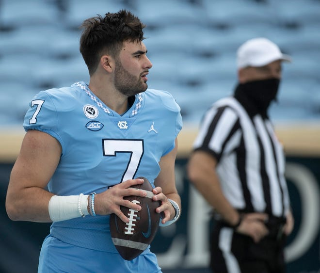 Quarterback Sam Howell warms up prior to North Carolina's season-opening victory against Syracuse.