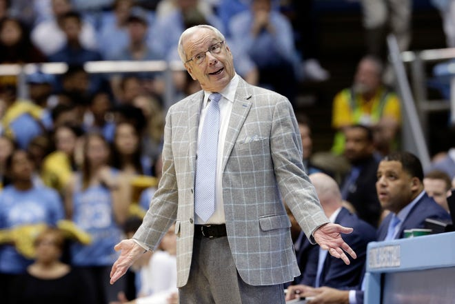 North Carolina coach Roy Williams reacts during a victory against Miami in January at the Smith Center.