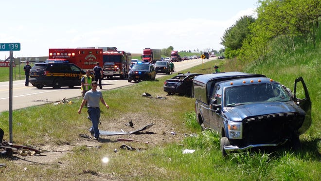 Nathan W. Miller of Dundee is facing five charges connected with a May 26 incident that concluded with this crash at state Route 39 and Old Route 39 east of Sugarcreek.