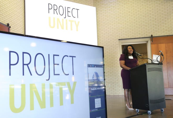 Margaret Jones, the Project Unity Liaison for the City of Tuscaloosa, speaks during the Project Unity's first meeting at Tuscaloosa River Market Wednesday, Sept. 30, 2020. [Staff Photo/Gary Cosby Jr.]