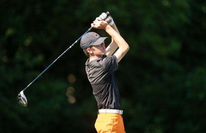 Delaware's Brady Gazarek hits off the first tee during the season's first OCC-Capital tournament Aug. 6 at Turnberry. Gazarek, who was first-team all-league, leads the Pacers into a Division I sectional Tuesday, Oct. 6, at Darby Creek.