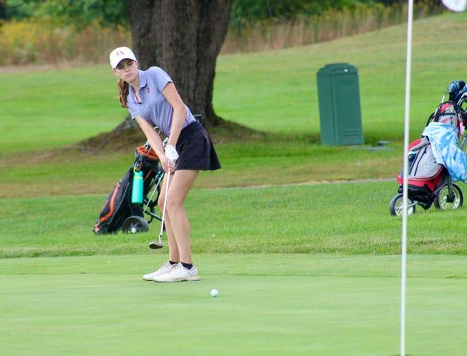 Columbus Academy's Eliza Freytag putts on the ninth green during a Division II sectional tournament Sept. 28 at Blacklick Woods. She finished with a 90, helping the Vikings place second to earn their first district berth.
