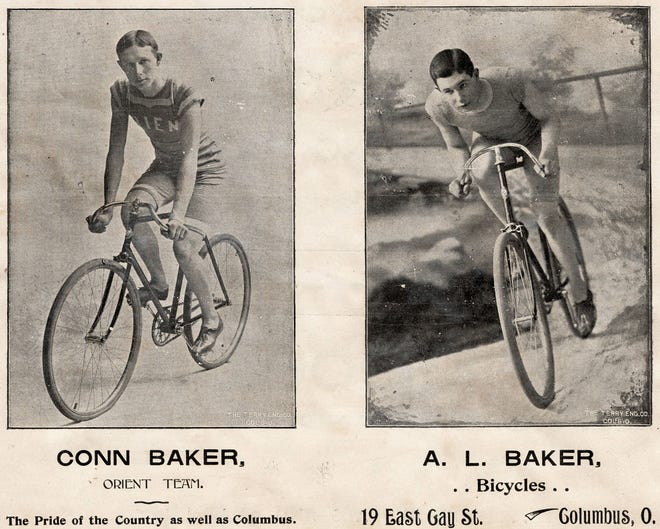 "This flyer features brothers Conn Baker and Arnon Baker, who were among the many cyclists competing in races Sept. 7, 1896, at the Driving Park racetrack. Conn Baker was the fifth-fastest cyclist in the country. Hundreds of fans attended to cheer on their favorite ""crackerjacks"" – a term used for top cyclists at the time. The track opened in August 1892 with horse racing and closed in December 1925. In 1926, the neighborhood began to form with the construction of homes."