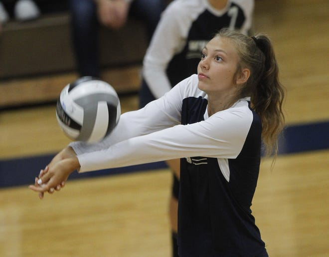 Macy Staggs, a middle hitter, is one of seven seniors leading the Whetstone girls volleyball team under first-year coach Chelsea Ray.