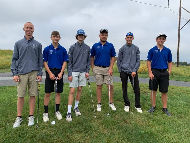 Members of the Waynesboro Area Senior High School golf team who qualified (based on their performance during the season) to compete at the Mid Penn Golf Championship Monday at Royal Manchester Golf Links in Mount Wolf are from left: Junior Eli Beck, freshman Kellan Smith, sophomore Evan Stein, seniors Brady Cauffman and Devin Smith, and junior Dylan Byers.