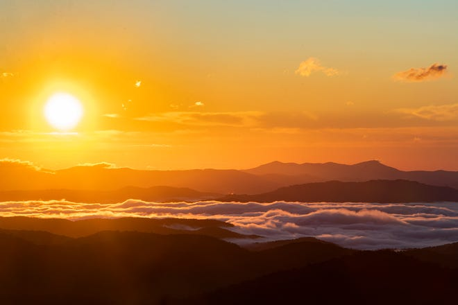 The sun rises over the Blue Ridge Parkway on Sept. 30, 2020.