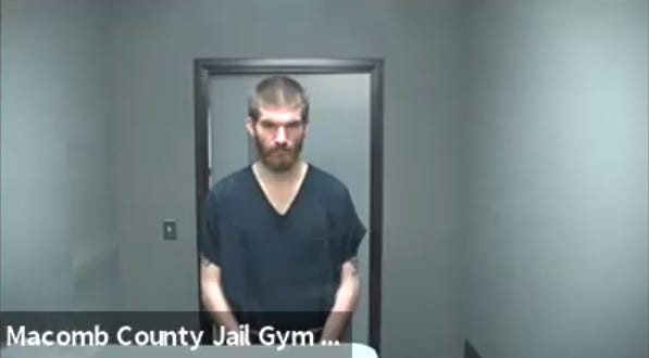 Matthew David Hughes appears by video from jail during a Macomb County Circuit Court proceeding on Sept. 30, 2020.