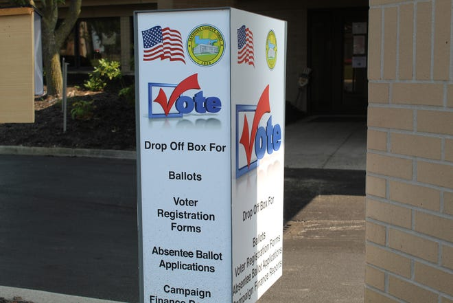 Sandusky County voters can pick up absentee ballot applications and drop off completed absentee ballots at this drop box area outside of the Sandusky County Board of Elections on Countryside Drive. The board of elections has already received about 10,000 absentee ballot requests from county voters.