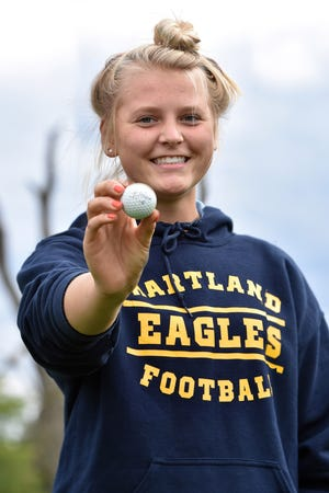 Hartland's Morgan Seog had a hole-in-one at Ironwood Golf Club in a match against Howell on Tuesday, Sept. 29, 2020.