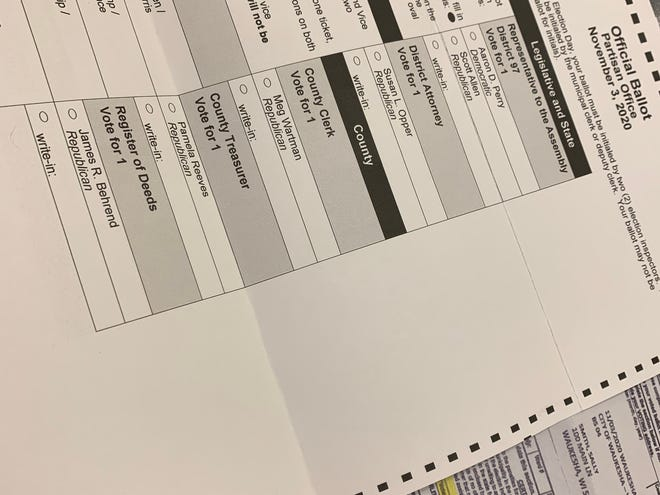 This absentee ballot is one sample of the ones voters should have received for the 97th District Assembly race featuring Republican Scott Allen and Democrat Aaron Perry. Three voters in the village of Waukesha received a different ballot in error.
