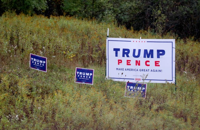 A pro Trump election sign on Highway 83 in Delafield in Waukesha County is seen on Wednesday, Sept. 30, 2020.
