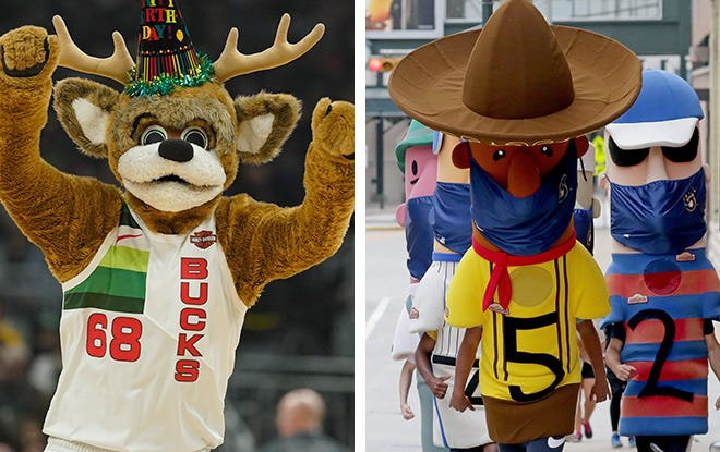 Milwaukee Bucks masccot Bango, left, and the Famous Racing Sausages, right.