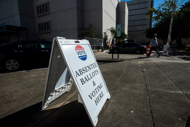 Signs direct to the absentee voting office outside the Montgomery County Courthouse in Montgomery, Ala., on Wednesday, Sept. 30, 2020.