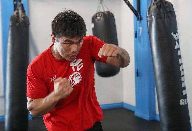 Boxer Bektemir Melikuziev trains in Indio, September 29, 2020.