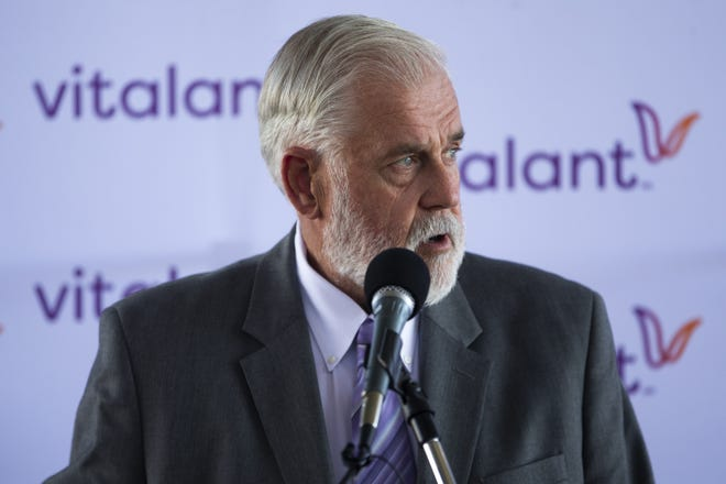 Glendale mayor Jerry Weiers speaks at a press conference about a push for former COVID-19 positive people to donate convalescent plasma at the Phoenix Fire Academy in Phoenix, Ariz. on Sept. 30, 2020.