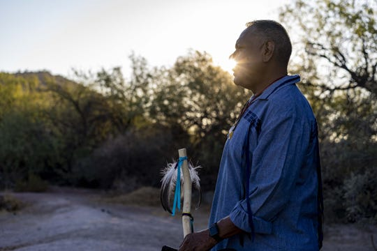Tribal member Austin Nunez at Quitobaquito Springs, pray with  elders from the Tohono and Hia-Ced O'odham organized a cross-border prayer run and ceremony to reaffirm religious and cultural practices along the Arizona-Mexico border.