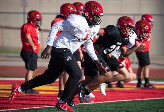 Anthony Lucas (DT) runs a drill during football practice, September 28, 2020, at Chaparral High School, Scottsdale, Arizona.