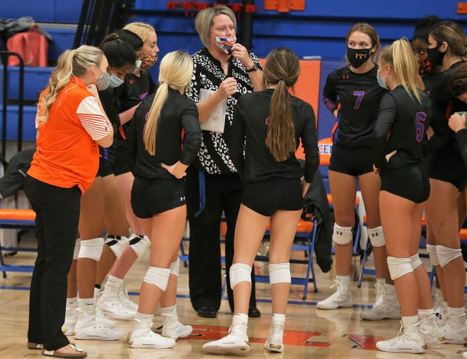 San Angelo Central head volleyball coach Julie Williams talks strategy against Frenship in the District 2-6A volleyball opener at Babe Didrikson Gym on Tuesday, Sept. 29, 2020. Williams took over for longtime Central head coach Connie Bozarth, who retired this past spring.