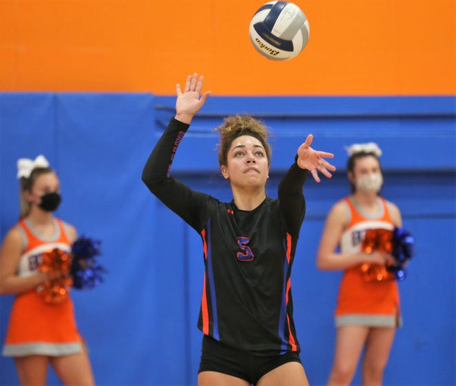 San Angelo Central's Mya Moore hits a serve against Frenship in the District 2-6A volleyball opener at Babe Didrikson Gym on Tuesday, Sept. 29, 2020.