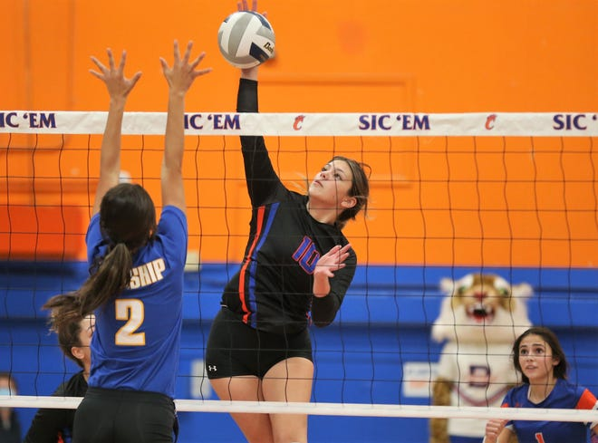 San Angelo Central's Nadia Fierro goes up for an attack against Frenship in the District 2-6A volleyball opener at Babe Didrikson Gym on Tuesday, Sept. 29, 2020. Frenship swept Central 25-12, 26-24, 25-11.