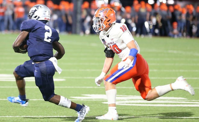 San Angelo Central's Ty Casey chases down Killeen Shoemaker quarterback Ty Bell during the season opener in Killeen on Thursday, Sept. 24, 2020.