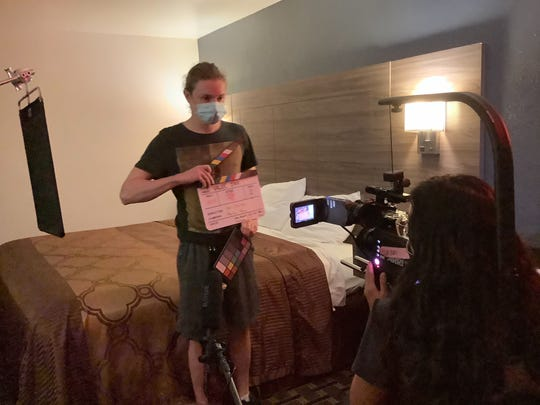 Louisiana Film Prize filmmakers practicing COVID-19 protocols while filming their short film submission.