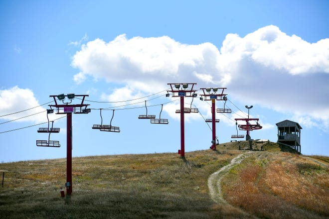The ski lift at Great Bear Ski Valley stands motionless during the off season on Wednesday, September 30, in Sioux Falls.