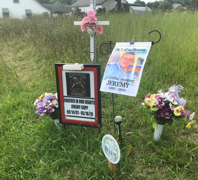 A makeshift memorial remains on U.S. 11 in Mount Sidney where Jeremy Cupp was struck and killed by a motorist in 2019.