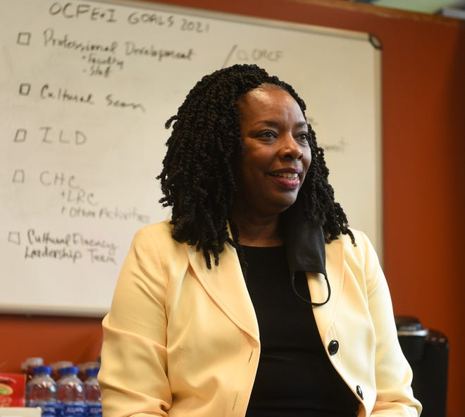 Debra Leigh, vice president of cultural fluency, equity and inclusion at St. Cloud Technical & Community College, speaks in her office Tuesday, Sept. 29, 2020, in the Northway Building at SCTCC.