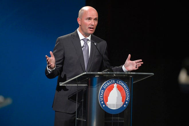 Lt. Gov. Spencer Cox speaks while debating candidate Chris Peterson in Salt Lake City, on Tuesday, Sept. 29, 2020. Republican Lt. Gov. Cox went head to head with Democratic law professor Chris Peterson in Utah's gubernatorial debate Tuesday. The two candidates are competing to succeed Republican Gov. Gary Herbert, who isn't running again after more than a decade in office. (Trent Nelson/The Salt Lake Tribune via AP)