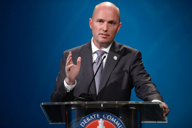 Utah's Lt. Gov. Spencer Cox speaks while debating candidate Chris Peterson in Salt Lake City, Tuesday, Sept. 29, 2020.