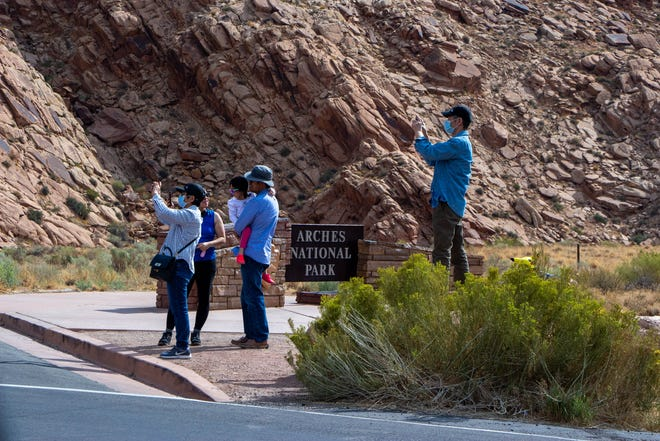 Cars are forced to turn around for hours at a time during busy weekends because Arches National Park is too full. This closure was on September 19, 2020.
