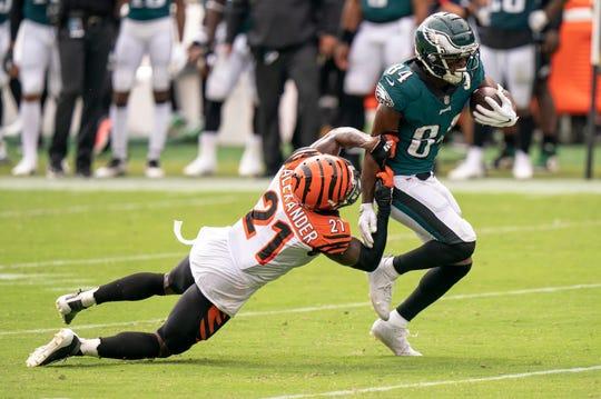 Philadelphia Eagles wide receiver Greg Ward (84) in action against Cincinnati Bengals cornerback Mackensie Alexander (21) during the NFL football game, Sunday, Sept. 27, 2020, in Philadelphia. (AP Photo/Chris Szagola)