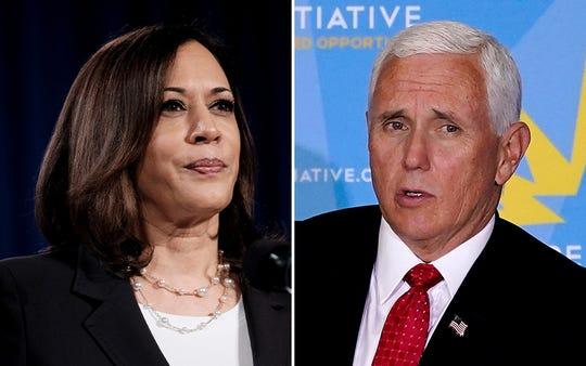 Sen. Kamala Harris, D-CA, left, and Vice President Mike Pence.
