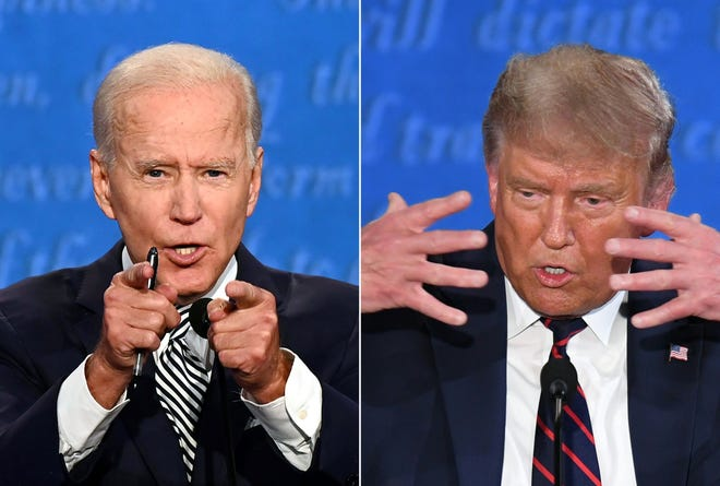 Former Vice President Joe Biden debates President Donald Trump on Sept. 29, 2020, in Cleveland.