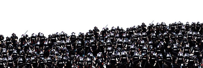 "Omid Tavakoli, ""Over Policing (Sea of Cops),"" 2020, archival pigment print, 8 x 24 inches."