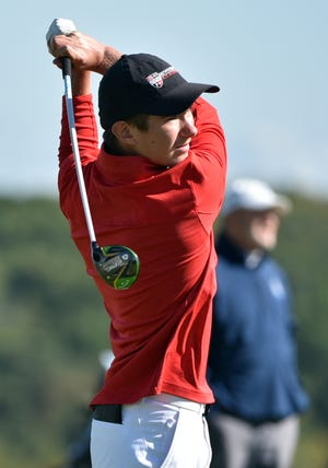 Sewickley Academy's Tim Fitzgerald tees off during the boys WPIAL Class AA championship golf tournament Thursday at Allegheny Country Club in Sewickley.