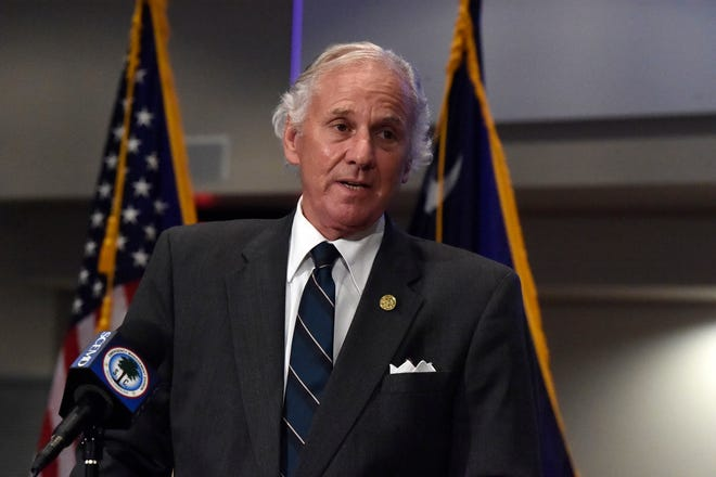 Gov. Henry McMaster speaks during a COVID-19 briefing July 29 in West Columbia.
