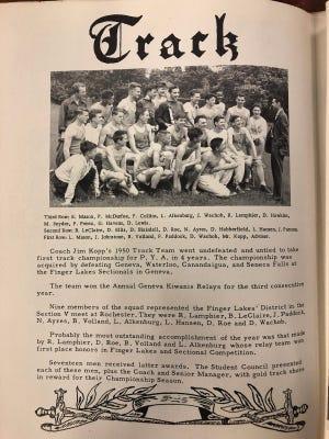 The 1950 PYA Track & Field team photo and line up.