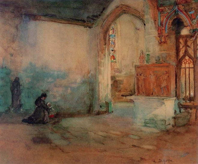 """An Old Church in Brittany"" by Alice Schille"