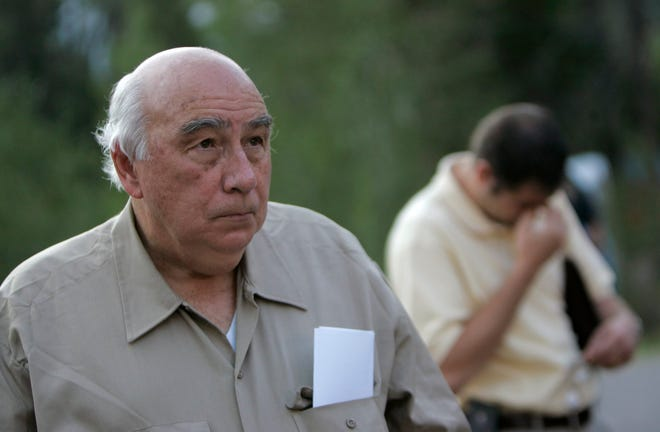 Robert Murray, founder and chairman of Cleveland-based Murray Energy Corp., arrives at a news conference at the entrance to the Crandall Canyon Mine, in northwest of Huntington, Utah, on Aug. 20, 2007.