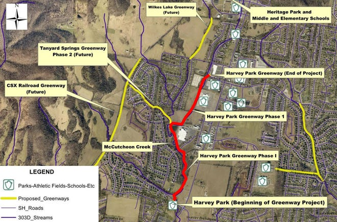 The Harvey Park Greenway Plan is set to begin in 2023 and will include 1.3 miles of multi-use trails connecting the park to the city's nearby residential and shopping districts. (Courtesy graphic)